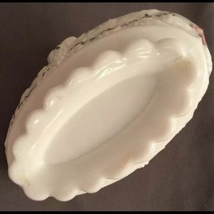 westmoreland Other - WESTMORELAND Milk Glass Hand Painted Candy Dish
